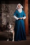 Nun with Dog Indoors