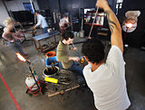 Busy Glass Factory Workers