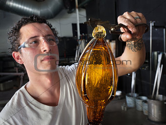 European Glass Art Student Working