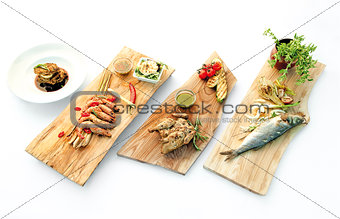 Healthy fresh food on white table