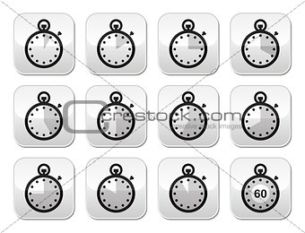 Time, clock, stopwatch vector buttons set
