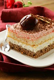 piece of cake with cream and chocolate