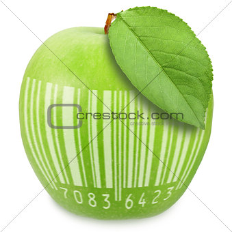 Green apple with bar-code
