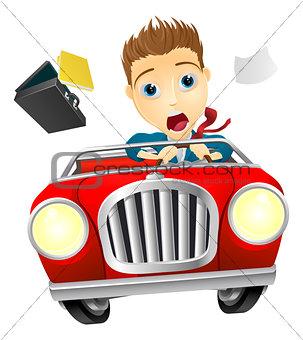 Businessman driving car fast