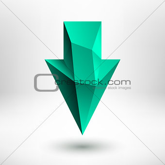 3d Green Down Arrow Sign with Light Background