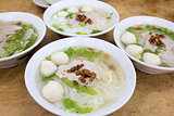 Bowls of Southeast Asian Fishball Noodle Soup