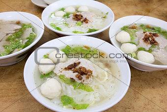 Bowls of Southeast Asian Fishball Noodle Soup
