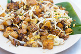 Penang Fried Rice Cake with Bean Sprouts Closeup