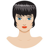 Vector portrait of a beautiful girl with a short haircut