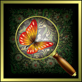 abstract background with lens and butterfly