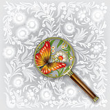 Magnifying glass with butterfly and flowers