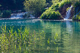 summer waterfalls and green  limpid lake