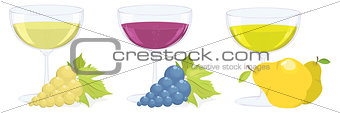 glasses with grape and fruit wines. vector set