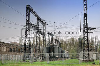 Electric wires at a power station