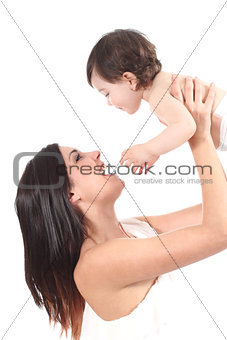 Beautiful mother raising her daughter