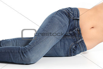 Close up of a beautiful woman waist with jeans