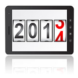 Tablet PC computer with 2014 New Year counter isolated on white 