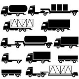 Set of vector icons - transportation symbols. Black on white. 