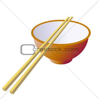 Ceramic mug with wooden sticks. Vector illustration.