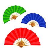 set of folding fans