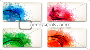 Abstract banners with watercolor splashes. Vector.
