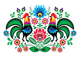 Polish floral embroidery with cocks - traditional folk pattern