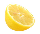 Slice of fresh yellow lemon