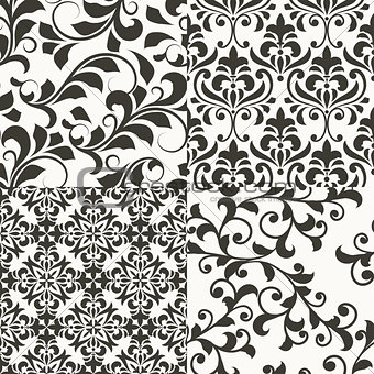4 Seamless vector Floral Retro Patterns