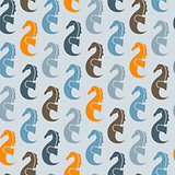Vector Seamless Pattern with Sea Horses