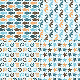 Vector Seamless Pattern with Sea Creatures