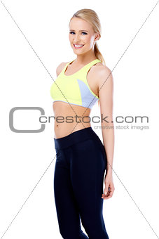 Fitness blond girl smiling