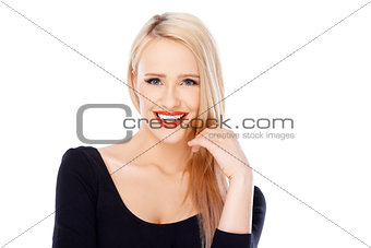 Portrait of smiling beautiful blond woman