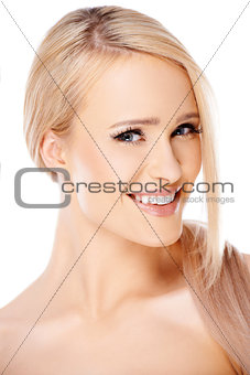 Close up portait of caucasian blond woman
