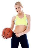 Adorable girl with basket ball