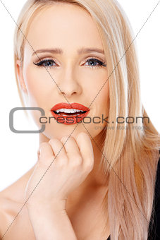 Close up of cute blond sexy woman