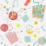 Retro seamless pattern with hand drawn knitting accessories