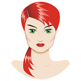 Vector portrait of a beautiful girl with a red hair