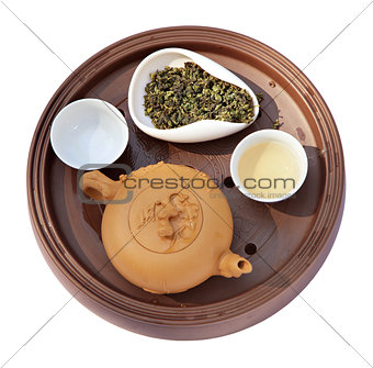 clay tea-things and green tea