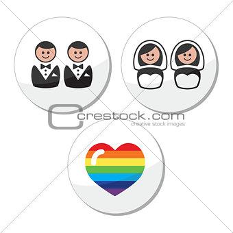 Gay / lesbian wedding icons set