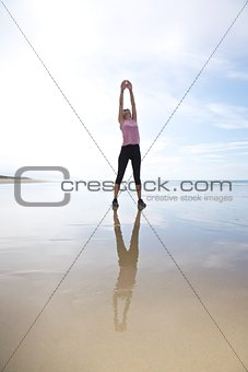 exercising on seashore