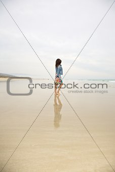 jeans jacket woman reflect on sea