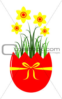 daffodils in egg pot