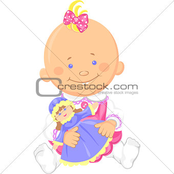 Vector cute baby girl playing with a toy doll