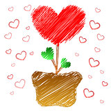 Heart tree in doodle style