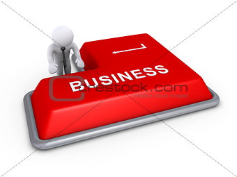 Businessman about to press business button