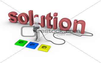 Person choosing socket for solution