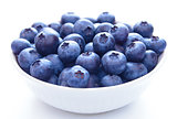Big White Bowl Full of Ripe Blueberries