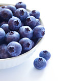 Heap of Ripe Blueberries in the White Bowl