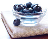 Heap of Blueberries in the Glass Bowl