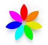 3D Abstract Rainbow Flower on White Background